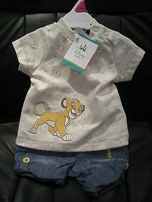 DISNEY BABY BOY'S LION KING SIMBA 2 PIECE OUTFIT NEWBORN 7.11lbs (3.5kg) - BNWT