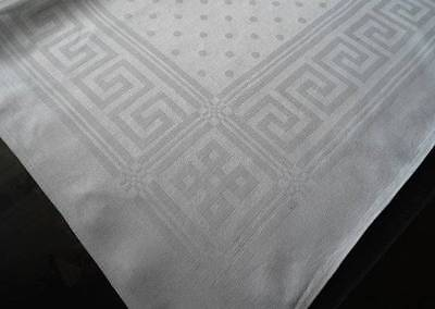 Vintage Irish Linen Damask Tablecloth Greek Key & Dots 35""