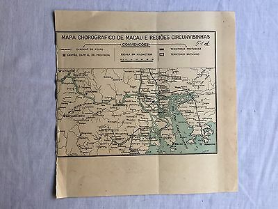Rare Antique China Macao Chorographic Map Made In Portugal 1930's