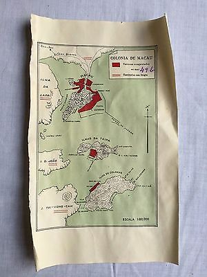 Rare Antique China Macao Islands  Small Map Made In Portugal 1930's