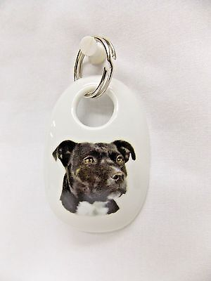 BL/Wh Staf Bull Terrier Dog Porcelain Key Chain Fired Decal Handmade 2 3/4 In
