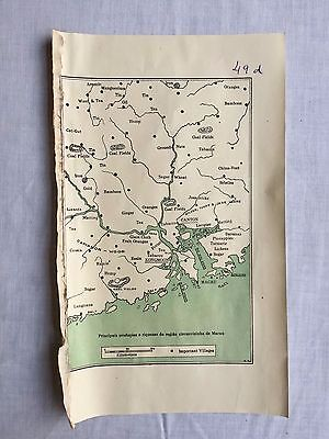 Rare Antique China Macao Suburbs Economy  Small Map Made In Portugal 1930's