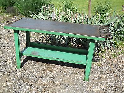 Vintage Industrial Green Metal Patina Work Table  Antique Decor 60x32x24