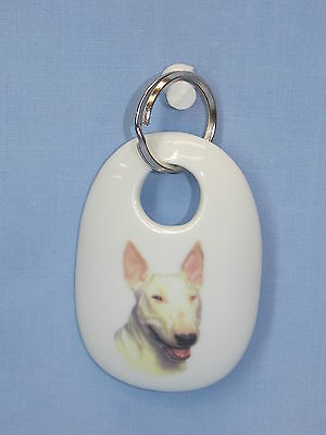 English White Bull Terrier Dog Porcelain Key Chain Fired Decal Handmade 2 3/4 In