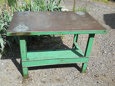 Vintage Industrial Green Metal Patina Work Table  Antique Decor 48x32x30