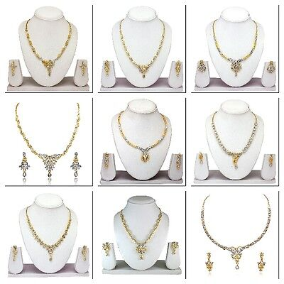 Indian Bollywood Fashion Two Tone Wedding Necklace Earrings Party Jewelry Set