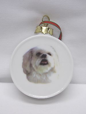 Lhasa Apso Dog Round Drum Christmas Tree Ornament Fired Head Decal-H