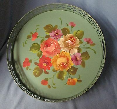 shabby cottage MCM round tray pale green w/ HP tole like flowers - Studio Arts