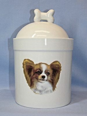 Papillon Dog Porcelain Treat Jar Fired Head Decal on Front 8in Tall Airtight Lid