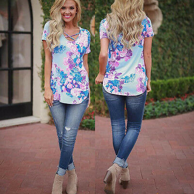 New Fashion Women Ladies Summer Short Sleeve T-Shirt Casual Printed Tops Blouse