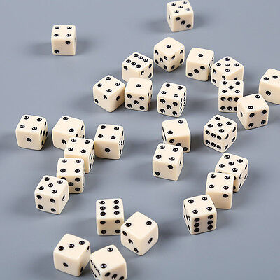 10pcs Dice Dices Six Sided Standard Square Gambling Game White With Black Pips