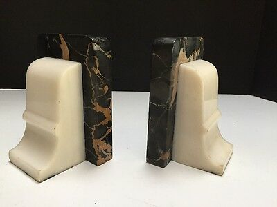 Vintage Black Gold Marble Alabaster Bookend Architectural Classic Scroll