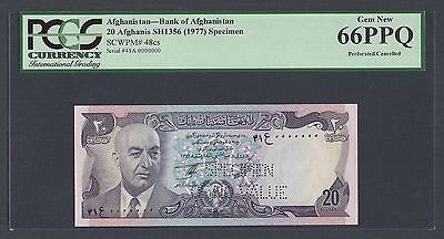 Afghanistan 20 Afghanis Sh1356 -1977 P48cs Specimen Perforated Uncirculated