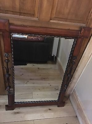 cast iron And Wood Large decorative mirror. (old)