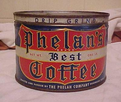 Old Vintage One Pound  Phelan's Best Key Wind Tin Coffee Can Beaumont Texas