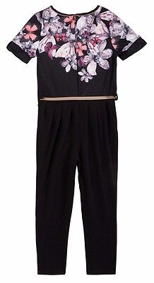 New Ted Baker Girls Butterfly Black Floral Party Summer Jumpsuit Outfit Age 4