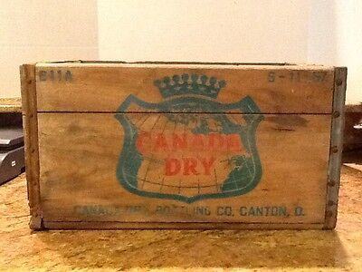Canada Dry Ginger Ale Wood Soda Bottle Crate Canton Ohio 1957