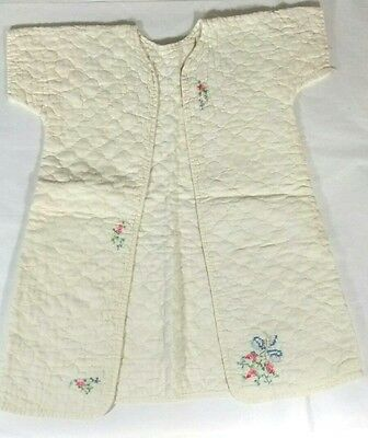Vintage Hand Cross Stitched Quilted Baby or Doll Robe Sleeper