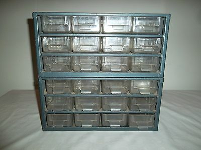 Vintage Industrial Parts Bolt Bin Metal Storage (2) 16 Drawers Wards Powr-Kraft