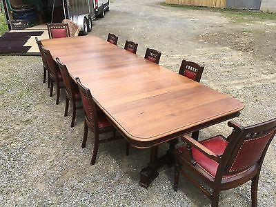 Walnut Banquet Table With 10 Chairs