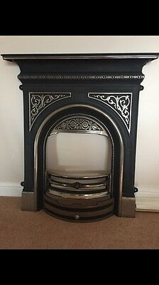 Stunning Cast Iron Fireplace And Matching Over Mantel Mirror