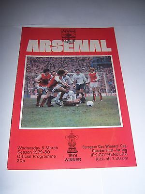 ARSENAL v IFK GOTHENBURG 1979/80 - EUROPEAN CUP WINNERS' CUP Q/F - PROGRAMME