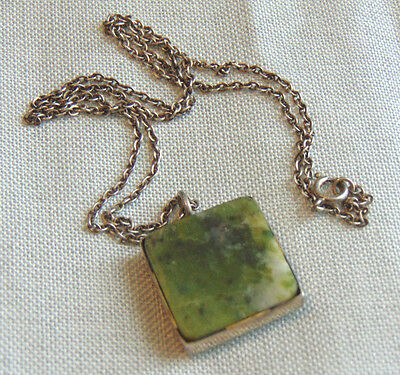 Antique Hallmarked Sterling Silver Apple Jade Jadeite Square Pendant Necklace