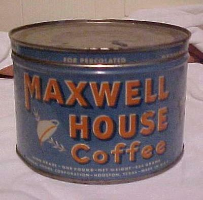 Old Vintage One Pound Maxwell House  Key Wind Tin Coffee Can General Foods Corp.