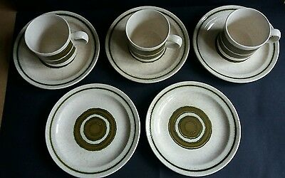 Vintage Retro Royal Worcester Palissy Crofter side tea plates x 5 and 3 cups