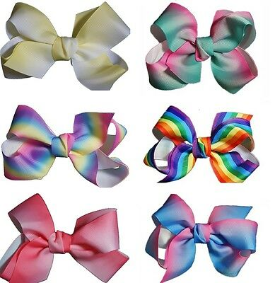5 Inch Neon Summer Bows Boutique Hair Clip Alligator Grosgrain Ribbon Bow Girl