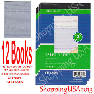 12 Pcs Invoice Sales Order Book Receipt Form Record Carbonless 50 Sets 2 Parts