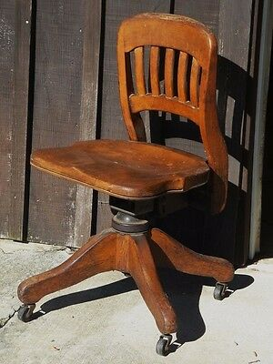 Desk Chair Office Wood Reclining Castors Adjustable Typewriter Mad Men Military