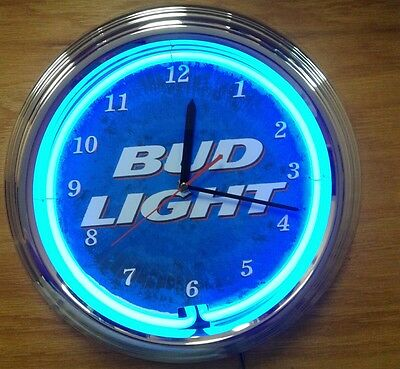 Blue Neon Bud Light Wall Clock