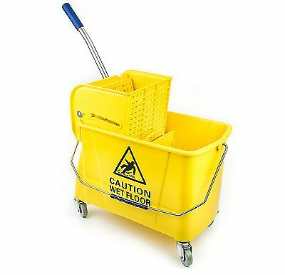 RK Safety 24 Quart Commercial Wet Mop Bucket & Wringer Combo Yellow