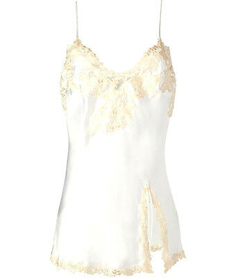 BNWT $ 550 La Perla Maison Iconic Ivory Silk Slip Embroidered nightdress Size 3