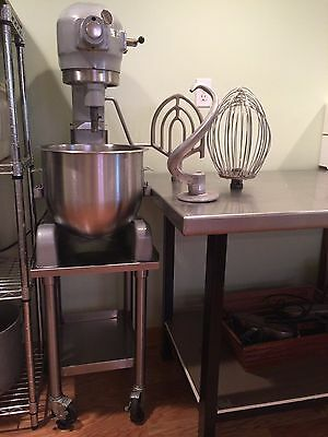 hobart 60 qt mixer with 3 attachments; dough hook, whip and paddle.