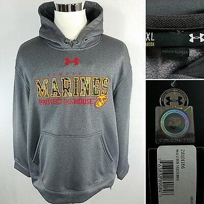 UNDER ARMOUR Marines Semper Fi Men's XL Gray Cold Gear Storm Hoodie Jacket NEW