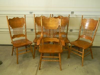 Set Of Five Solid Oak Pressed Back Dining Room Chairs