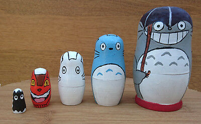 Unique Totoro Hand Painted Matryoshka Nesting Dolls Set of 5 Decoration OOAK