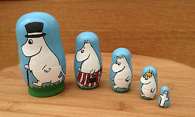 Unique Inspired By Moomins Hand Painted Matryoshka Nesting Dolls Set Of 5 OOAK