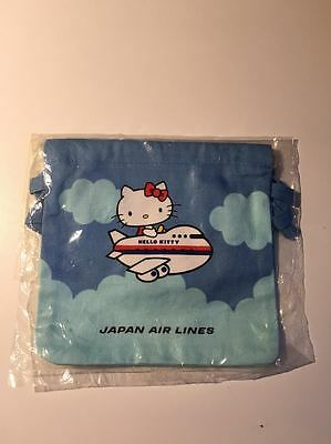 Vintage 1980s Sanrio Hello Kitty Japan Airlines Mini Cloth Bag 4 inches