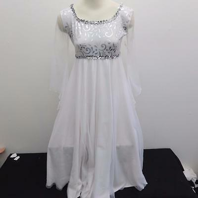 Dance Costume M, L, XXL Adult White Silver Liturgical Dress Solo Competition