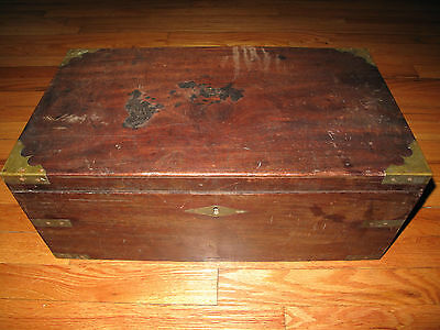 Early 19th Century English Travel Writing Box Antique Lap Desk Campaign Style