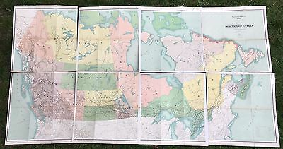 1906 Set Of 9 Linen Backed Large Folding Maps Of Canada & United States In Case