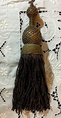 "Antique 19th C. French Gold/Bronze Metallic Tassel, Authentic! Gorgeous! 9"" Long"