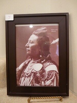 Native American Indian Chief 5X7 Framed Sepia Photo Plenty Coups Absaroke