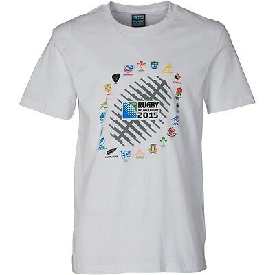 20 Nations Graphic 2015 Rugby Union World Cup White T-Shirt Size Extra Large