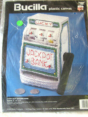 BUCILLA Plastic Canvas Needlepoint KIT SLOT MACHINE BANK  Slots  5x6x4  NIP