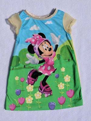 EUC Disney Baby Girls Minnie Mouse Roller Skates Print Nightgown, Size 12 Months