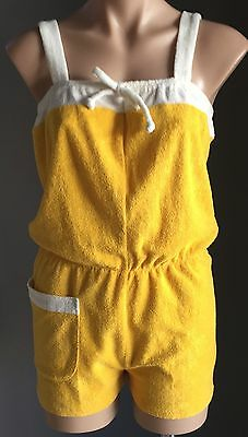Vintage 70's Yellow & White Terry Towelling Playsuit/Romper/Jumpsuit Size 12